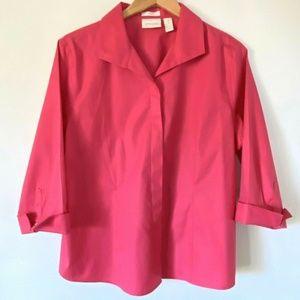 Chico's No Iron Shirt Sz 3 Petite (XL) Button Up